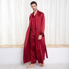 22 Momme Contra Full Length Silk Pyjamas & Dressing Gown Set for Men