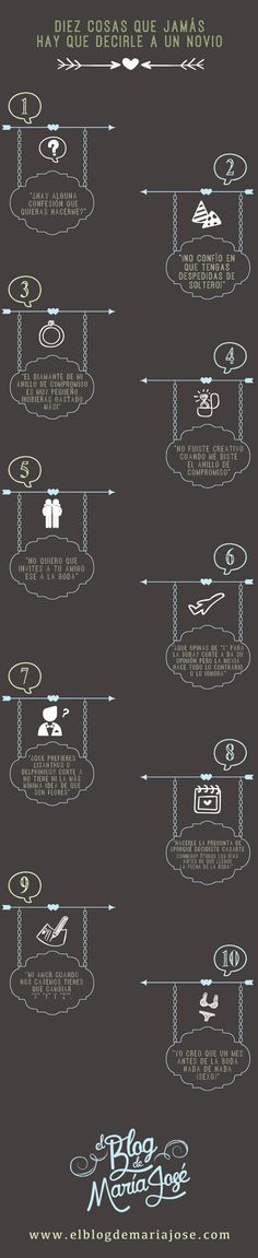 Diez cosas que jamás hay que decirle al novio durante la organización de la boda #bodas #elblogdemaríajosé #novio #wedding
