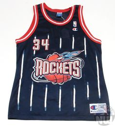 76bc890c2 Hakeem Olajuwon  34 Houston Rockets Replica Jersey By Champion Hakeem  Olajuwon