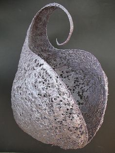 Carapace - paper pulp over crocheted wire by Jennifer Cartwright