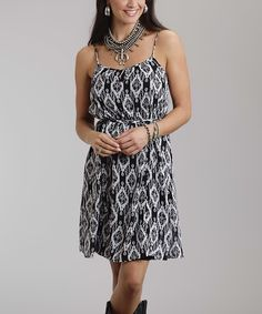 Look at this Black Geometric A-Line Dress on #zulily today!