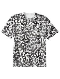 Black and white swirls doodles T-Shirt by @savousepate on @printalloverme