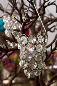 Hanging Crystal Candle Holder Silver 3.5in