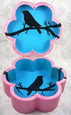 Hot Pink Flower Black Bird Stash Jewelry Box by pzcreations22, $22.50