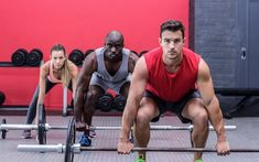 Portrait of three muscular athletes lifting barbells by Wavebreakmedia. Portrait of three muscular athletes lifting barbells 3 Day Workout Routine, Workout Schedule, Weight Training Workouts, High Intensity Interval Training, Keep Fit, You Fitness, Barbell, Athletes, Trends