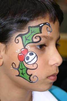 Christmas leaves and Nightmare Before Christmas character face paint facepaint face painting