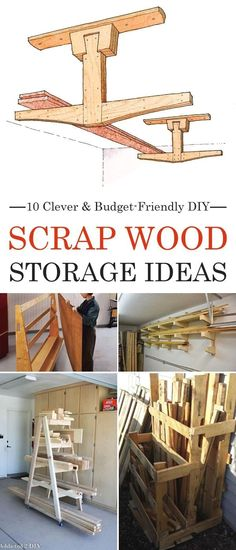 Woodworking Plans: 10 Clever and Budget-Friendly DIY Scrap Wood Stora. Plans: 10 Clever and Budget-Friendly DIY Scrap Wood Stora. Lumber Storage, Wood Storage, Diy Storage, Garage Storage, Garage Organization, Organization Ideas, Kitchen Storage, Organized Garage, Garage Shelving