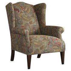 """Offer guests a comfortable seat with this handsome essential, an enviable addition to your well-appointed living room.   Product: Wing chairConstruction Material: Fabric and woodColor: Multi and espressoFeatures: Made in the USADimensions: 41.5"""" H x 32.5"""" W x 39"""" D"""