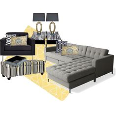 """Grey and Yellow Living Room"" by iris-ireland on Polyvore"