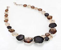Vianna Jóias -Pietra Necklace:Necklace in white gold set with Murion Quartz, Smoky Quartz, Black Quartz and Diamonds