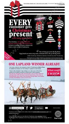 Company:          PizzaExpress    Subject:        Every customer gets a Christmas present                                INBOXVISION is a global database and email gallery of 1.5 million B2C and B2B promotional emails and newsletter templates, providing email design ideas and email marketing intelligence http://www.inboxvision.com/blog