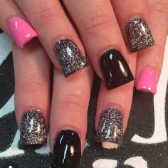 Sparkly Metallic, Black and Pink Nails. I'd do tips only and and only one sparkly instead of two