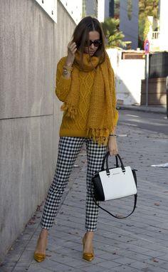 Plaid pants w/ mustard