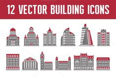 12 Vector Building Icons. Business Infographic. $3.00