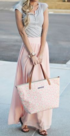 Pretty in Pink! Pink  Draped Floor Length Streetwear Chiffon Skirt #Pink #Grey #Outfit #Ideas