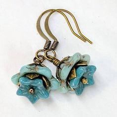 Leaf Earrings, Flower Earrings, Beaded Earrings, Beaded Jewelry, Glass Jewelry, Flower Jewelry, Bronze Jewelry, Antique Jewellery, Blue Earrings