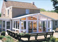 Home Gym Design, Patio Design, Sunrooms And Decks, Four Season Sunroom, Sunroom Windows, Sunroom Addition, Model House Plan, Craft, Outdoor Living