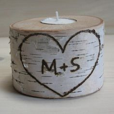 Candle holder.  Birch branch tea light holder.  Personalized with your initials.  Made to order.  Personalized wedding decorations. on Etsy, $15.00