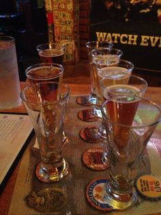 Beer Sampler Beer Sampler, Pint Glass, Brewery, Tigers, Berries, Road Trip, Garage, Restaurant, Tableware