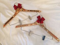 Personalized Cheer Uniform Hanger with Bow by BigBowsAndSandyToes on Etsy