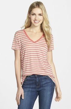 Add a long necklace or a printed scarf to this coral tee & you're good to go! Caslon® Print V-Neck Linen Tee (Regular & Petite) on shopstyle.com