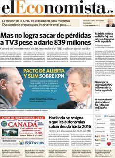 Los Titulares y Portadas de Noticias Destacadas Españolas del 27 de Agosto de 2013 del Diario El Economista ¿Que le pareció esta Portada de este Diario Español?