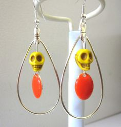Sugar Skull Earrings Day of the Dead Yellow by sweetie2sweetie, $10.99