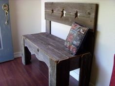 Recycled Wood Bench, Eco Bench, Rustic Decor, Farm House Bench, Star Bench, Wooden Bench