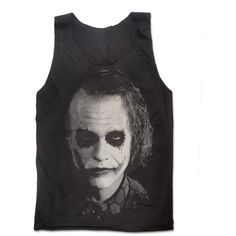 Heath Ledger The Joker Hand Print Tank Top Batman The Dark Knight... (55 BRL) ❤ liked on Polyvore featuring tops, shirts, tank tops, batman, cotton tank, patterned collared shirts, cotton shirts, comic book and round top