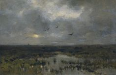 Anton Mauve - The Marsh, 1885 Anthonij (Anton) Rudolf Mauve (18 September 1838, Zaandam, North Holland – 5 February 1888, Arnhem) was a Dutch realist painter who was a leading member of the Hague School. He signed his paintings 'A. Mauve' or with a monogrammed 'A.M.'. A master colorist, he was a very significant early influence on his cousin-in-law Vincent van Gogh.