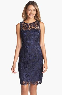 Free shipping and returns on Adrianna Papell Illusion Bodice Lace Sheath Dress at Nordstrom.com. Intricate lace overlays a slender sheath accented with lustrous satin trim at the neckline and armholes.