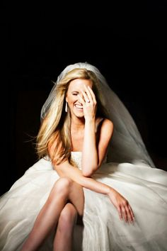 Adorable picture of bride that also shows off ring!