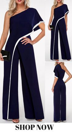 Shoulder Contrast Trim Navy Blue Jumpsuit This jumpsuit with One Shoulder can make you look much sexier and Contrast Trim design make you full of charm,you can wear it to your party or wear it at your daily time is very suitabe,get one you like. Bodycon Jumpsuit, Jumpsuit Outfit, Casual Jumpsuit, Jumpsuit Blue, Blue Jumpsuits, Jumpsuits For Women, Fashion Pants, Fashion Dresses, Fashion Clothes