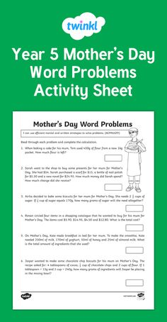 A great Mother's day themed problem-solving activity sheet. Questions are money and measurement based and include some multi-step problems.