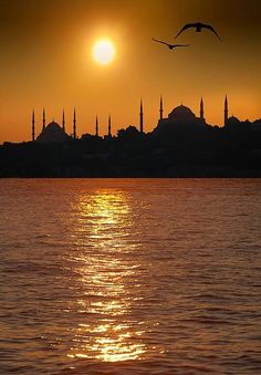 Blue Mosque and Hagia Sophia at sunset, Istanbul