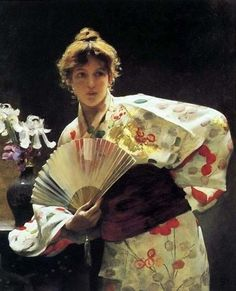 ☂ Paper Lanterns and Parasols ☂ Japonisme Art and Illustration - Charles Sprague Pearce | Lady with a Fan, 1883