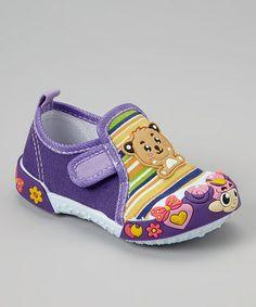Purple Teddy Bear Sneaker #zulily #zulilyfinds