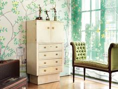 Home Decor - Interior Design Ideas  'Jardinières Citrus Trees' silk organza blinds in full custom design colours on green background.  de Gournay: Our Collections - Fabrics Projects |