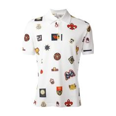 ALEXANDER McQUEEN Multicolor Polo T-Shirt ($342) ❤ liked on Polyvore featuring men's fashion, men's clothing, men's shirts, multi, polo mens clothing, colorful mens dress shirts, mens white polo shirt, men's cotton polo shirts and mens polo shirts