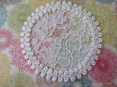 Handmade cream lace doily head cover with unique by ElegantDoily