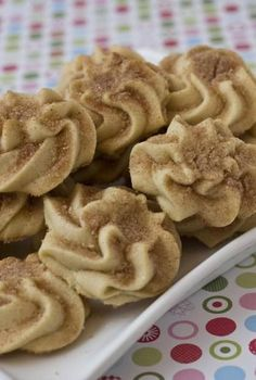 Snickerdoodle Spritz Cookies - Baking - Snickerdoodle Spritz Here& an excuse to buy that cookie press you& been staring at in - Holiday Baking, Christmas Baking, Christmas Treats, Christmas Parties, Holiday Treats, Pavlova, Shortbread, Cookie Recipes, Dessert Recipes