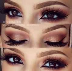 41. Pair a black liner with pale eye shadow all over the lid and a darker shade in the crease to make the eyes pop. 42. If you have brown hair, use peach and warm neutrals on the eyes. 43. If you have red hair, use neutral eye shadow shades that don't compete …