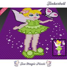 Tinkerbell crochet blanket pattern; knitting, cross stitch graph; pdf download…