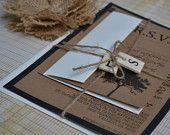 Tree Rustic Vintage Pocket Fold Wedding Invitation, Kraft Paper Wedding Invitation, EcoFriendly Tree Invitation, Wooden Alphabet Invitation