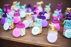 A Colorful, Vintage Farm Themed Baby Shower gifts - baby food jars spray painted