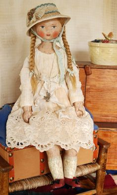 Miss DeMaillier is one of my new dolls inspired by 19th century folk art portraits of children. 14 inches tall, made of painted papier mache