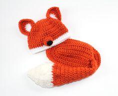 PHOTO PROP - Fox Baby Set - size newborn to 3 months - acrylic - baby costume. $38.00, via Etsy.