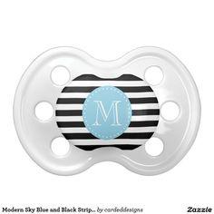 Modern Sky Blue and Black Stripes Custom Monogram BooginHead Pacifier