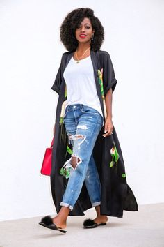 Page 3 – Daily outfits from Folake Kuye Huntoon Long Kimono Outfit, Look Kimono, Kimono Fashion, Boho Fashion, Fashion Looks, Womens Fashion, Chic Outfits, Spring Outfits, Fashion Outfits