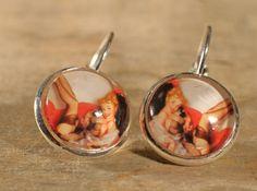 Boucles d'oreilles Bouton Cabochons de verre. par MrAndMrsBeaver Cabochons, Etsy, Button, Ears, Unique Jewelry, Boucle D'oreille, Drinkware, Locs